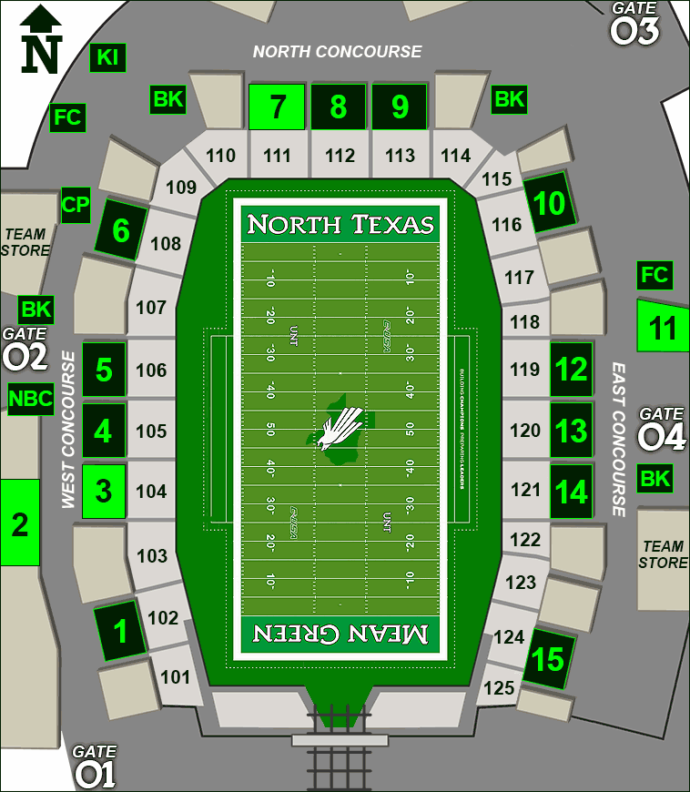 Apogee Stadium concessions map - barbeque