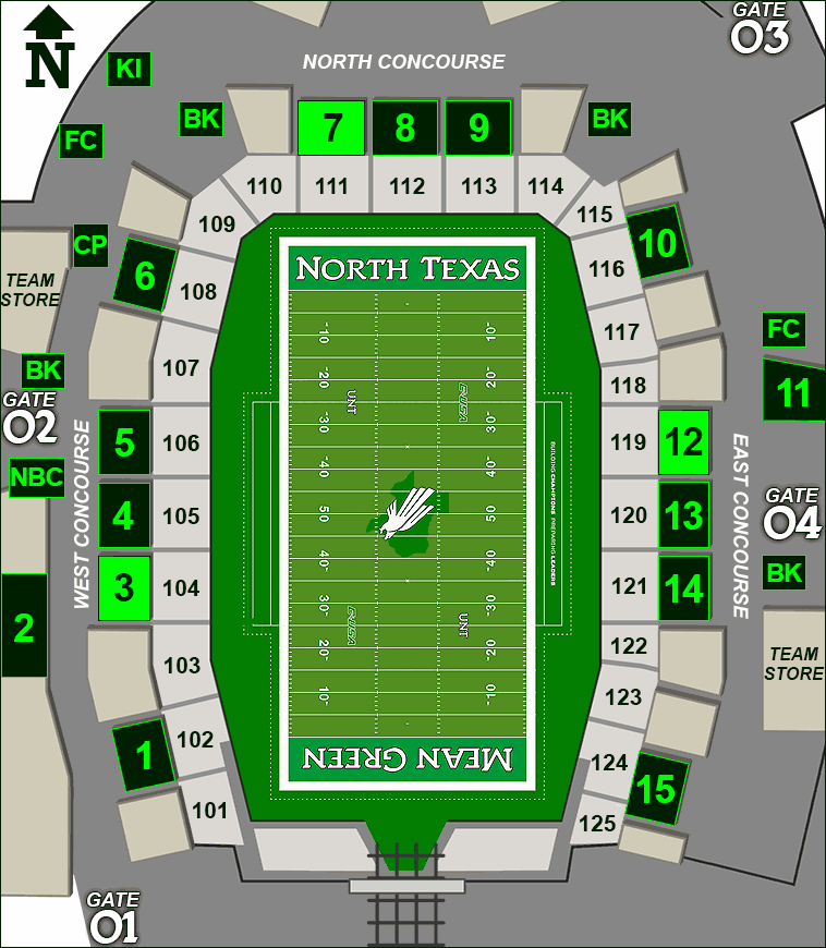 Apogee Stadium concessions map - Beth Marie's Ice Cream