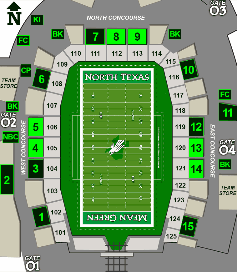 Apogee Stadium concessions map - chicken