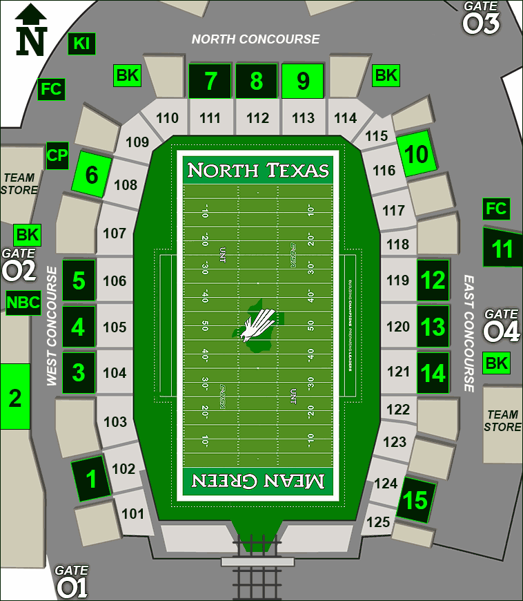 Apogee Stadium concessions map - domestic beer