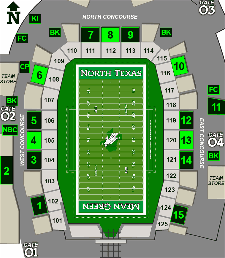 Apogee Stadium concessions map - Syracuse's Backyard Grillers and Victory Grill