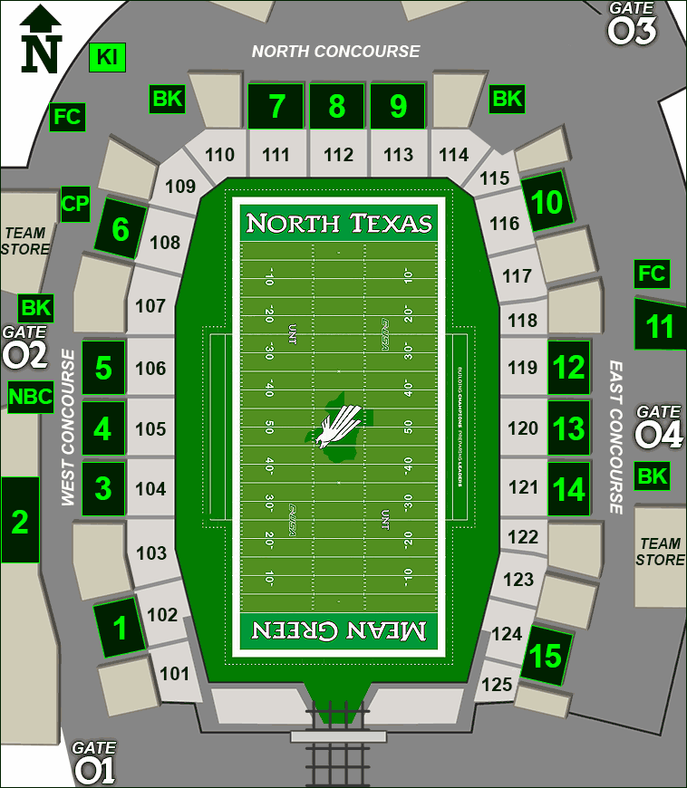 Apogee Stadium concessions map - Kona Ice