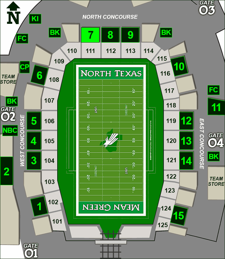 Apogee Stadium concessions map - Rudy's