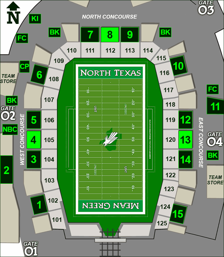 Apogee Stadium concessions map - Scrappy's Favorites